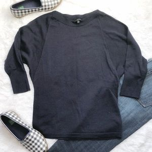 The Limited Navy Batwing 3/4 Sleeve Sweater